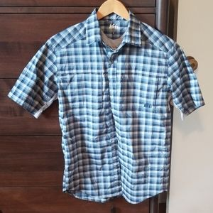 REI short sleeve, plaid, button up
